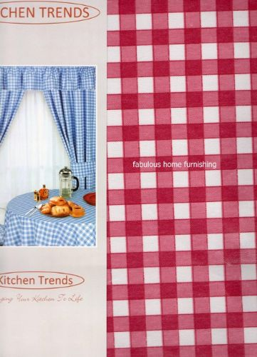 "KITCHEN COTTON PVC TABLECLOTH OBLONG 52""x70"" CHECK PINK"